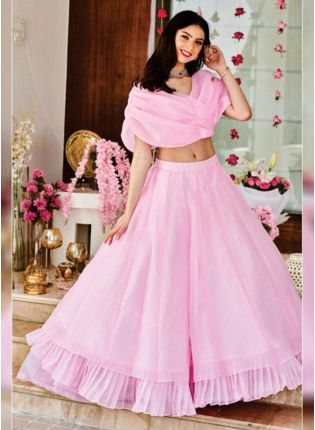 Baby Pink Color Ruffle Style Organza Base Lehenga Choli