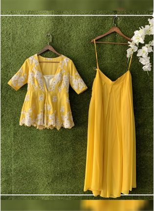 Yellow Color Party Wear Designer Georgette Base Palazzo Suit