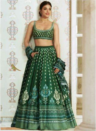 Dark Green Color Party Wear Satin Base Digital Printed Lehenga Choli