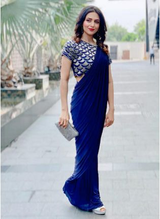 Royal Blue Color Party Wear Georgette Base Designer Saree
