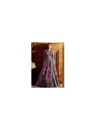 Impression Blue Silk Base Digital Printed Reception Wear Designer Gown