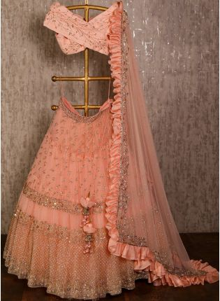 Peach color soft net base party wear Designer Lehenga Choli