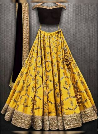 Mustered Yellow Color Wedding Wear Embroidery Work Designer Lehenga Choli