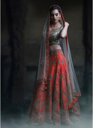 The Heavy Exclusive Designer Red Color Bridal Wear Lehenga Choli
