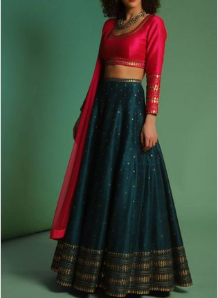 Bottle Green Color Wedding Wear Designer Lehenga Choli