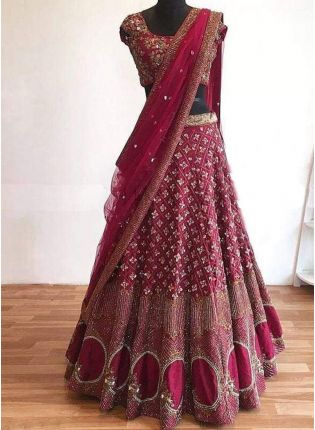 Dark Maroon Color Wedding Wear Designer Tafetta Silk Base Lehenga Choli
