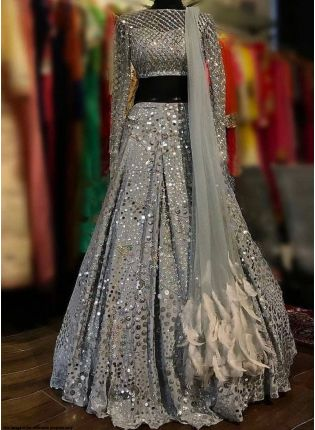 Grey Color Party Wear Silk Base Designer Lehenga Choli