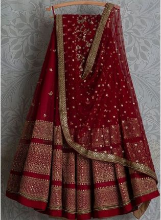 Red Color Party Wear Designer Wedding Wear Lehenga Choli