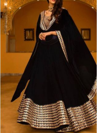Black Color Wedding Wear Designer Georgette Base Lehenga Choli