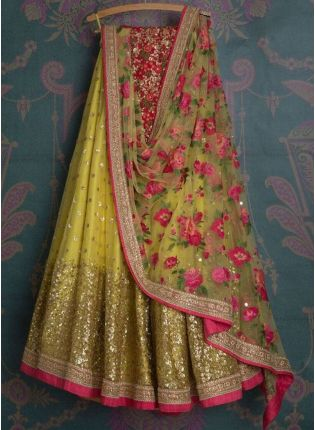 Yellow Color Georgette Base Wedding Wear Designer Lehenga Choli