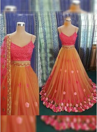 Orange Color Party Wear Designer Soft Net Base Fared Lehenga Choli