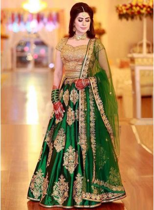 Amazing Green Color Wedding Wear Satin Base Designer Lehenga Choli