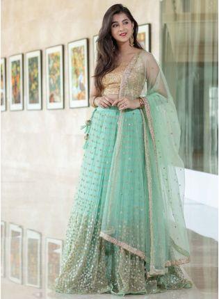 Sky Blue Color Party Wear Designer Net Base Sequins Work Lehenga Choli