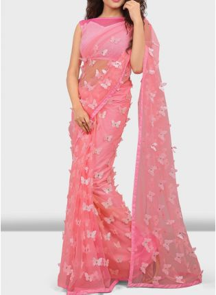 Baby Pink Color Soft Net Base Designer Pary Wear Sraee