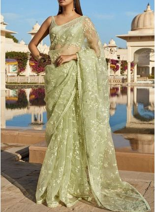 Pistachio Color Party Wear soft Net Base designer saree