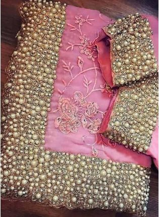 Blush Pink Color Party Wear Designer Saree With Heavy Embroidery Work