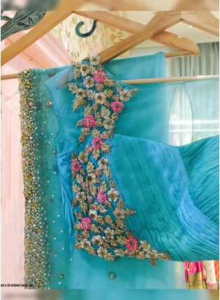 Sky Blue Zari Stone Work And Soft Net Embroidered Saree