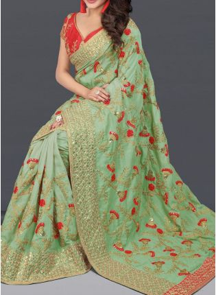 Pastel Green Color Party Wear Silk Base Designer Embroidered Saree