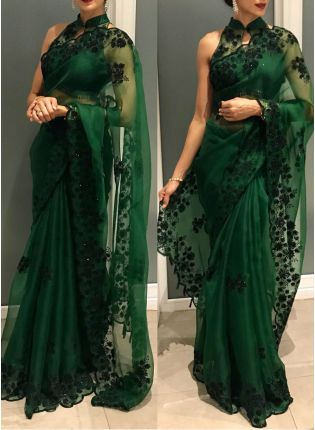 Remarkable Hunter Green Color Organza Silk Base Saree