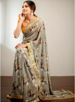 Stunning Grey Colored Digital Printed Saree With Zari And Sequin Work