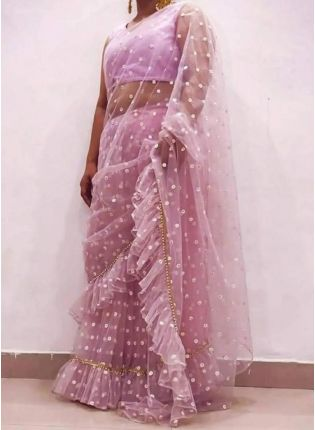 Onion Pink Sequins Soft Net Ruffle Bollywood Saree