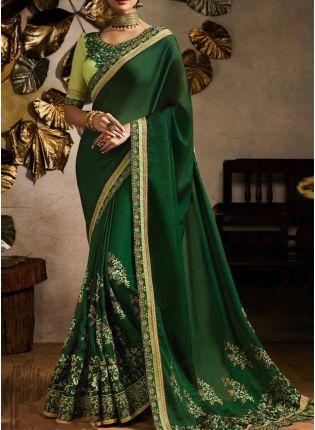 Green Zari Work And Silk Fabric Embroidered Saree