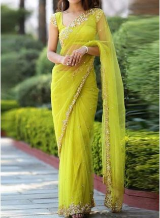 Neon Green Zari Work and Soft Net Embroidered Saree