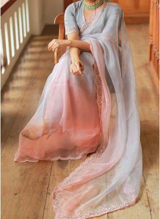 Elegant Grey Color Organza Base Designer Embroidered Saree