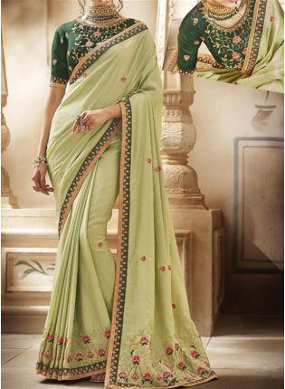 Pastel Green Zari Lacework Silk Embroidered Saree
