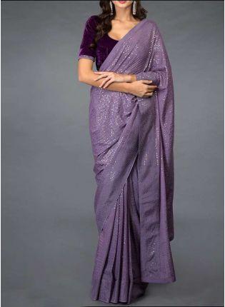 Stylish Purple Color Georgette Base Designer Party Wear Saree