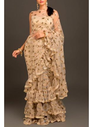 Fascinating Beige Colored Soft Not Base Ruffle Sequin Saree