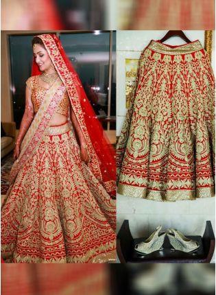 Red Sequin Bangalori Silk Flared Lehenga Choli with golden work