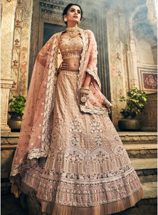 Fantastic Rose Taupe Color Panelled Zari Lehenga Choli