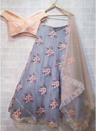 Grey-Peach Organza Base Floral Motif Designer Lehenga Choli