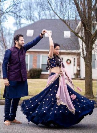 Marvelous Navy Blue Georgette Mirror Work Designer Lehenga Choli