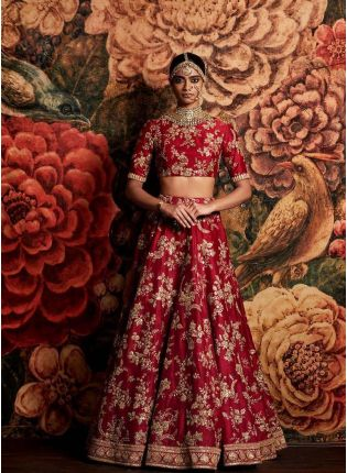 Applique Work Red Lehenga Choli Dupatta Set