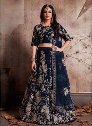 Navy Blue Dori Work Velvet Lehenga Choli And Dupatta Set