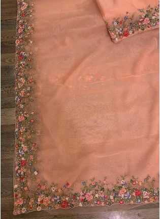 Thrilling Peach Pink Colored Ceremonial Wear Designer Organza Saree