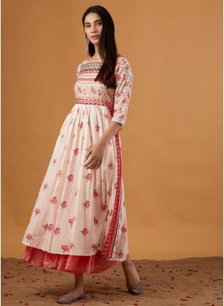 Admirable Multi-Color Flared Festive Wear Kurti With Gotapatti Work