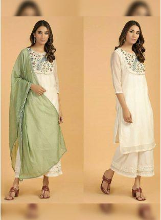 Splendid White Cotton Silk Festive Wear Designer Palazzo Salwar Suit