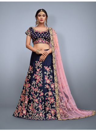 Navy Blue Floral Embroidered Lehenga Set