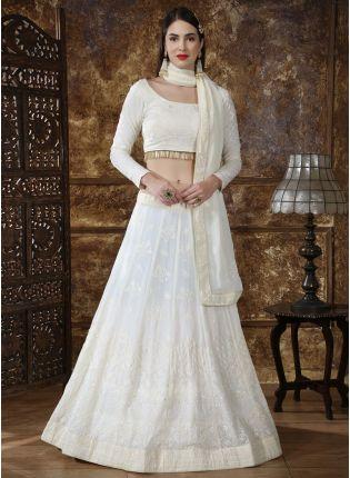Exotic Duck White Georgette Bridesmaid Designer Sequin Lehenga Choli