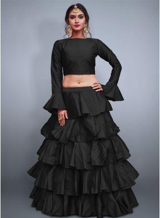 Black Taffeta Silk Base Ruffle Lehenga Skirt With Crop Top