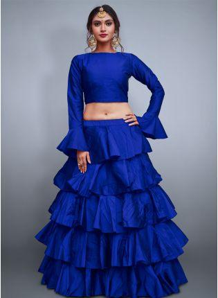 Blue Taffeta Silk Base Ruffle Lehenga Skirt With Crop Top