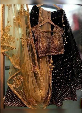 Black Color Wedding Wear Designer Soft Net Base Lehenga Choli