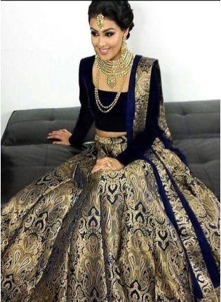 Black Color Wedding Wear Designer Silk Base Lehenga Choli