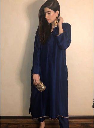 Splendid Navy Blue Casual Wear Plain Silk Base Pant Style Suit
