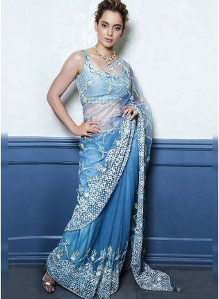 Sky Blue Resham And Soft Net Fabric Bollywood Saree