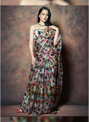 Iconic Multi-Color Organza Base Digital Printed Saree