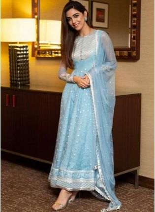 Sky Blue Color Party Wear Designer Net Base Sequins Work Anarkali Suit